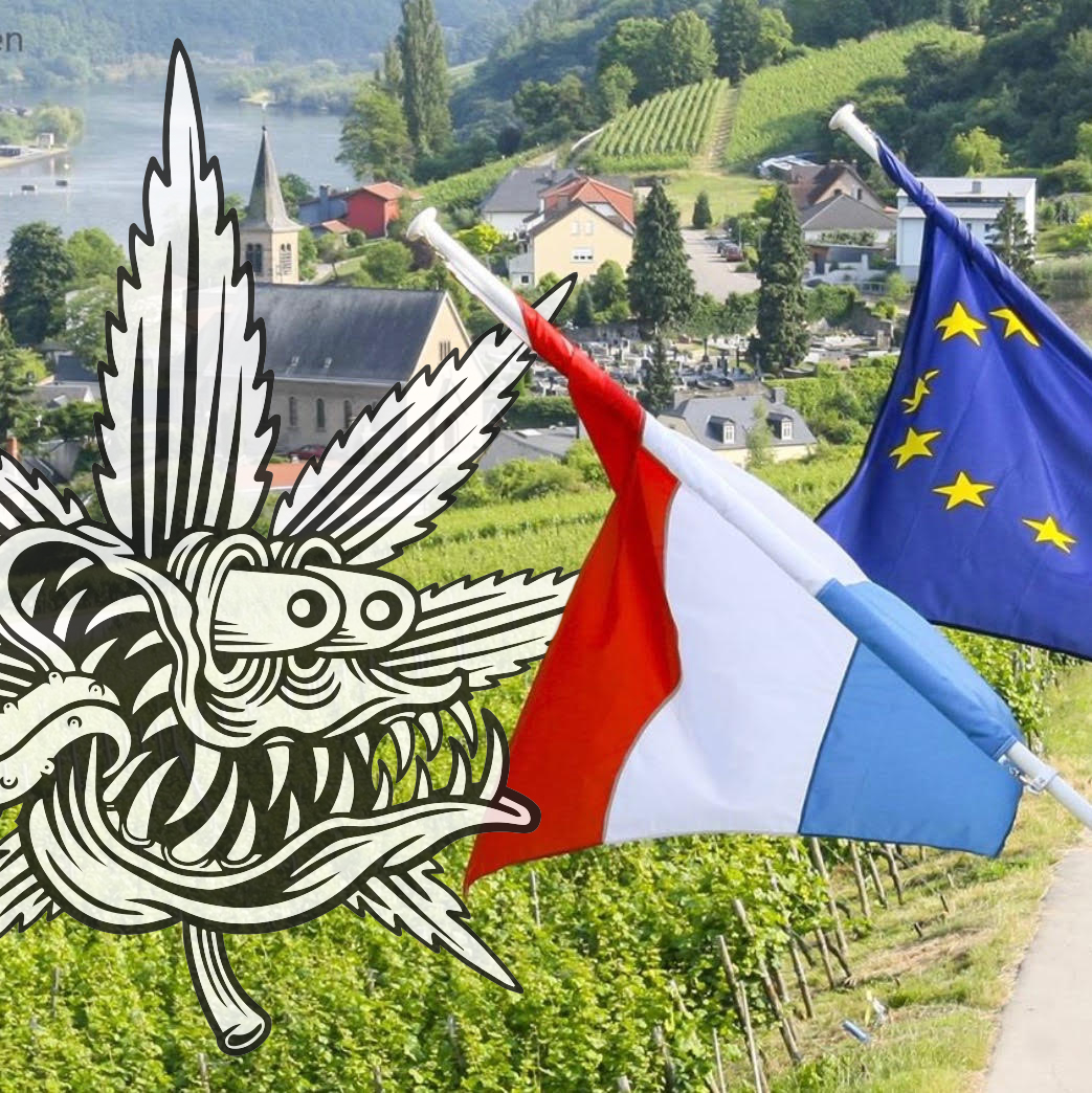 luxemburg and europe flag with cannabis cartoon